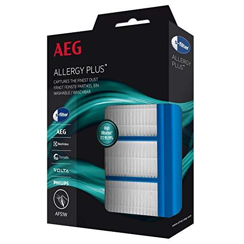 AEG AFS1W Allergy Plus Filter (Ideal für Allergiker, Filterwirkung mehr als 99%, saubere Luft, waschbar, leicht einzubauen, passend für über 80 Staubsauger-Baureihen, universell, passgenau) blau/weiß