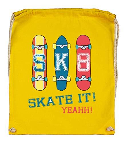 Druckerlebnis24 Turnbeutel - Skateboard Skaten Rollbrett Vintage - Stoffbeutel aus Bio Baumwolle