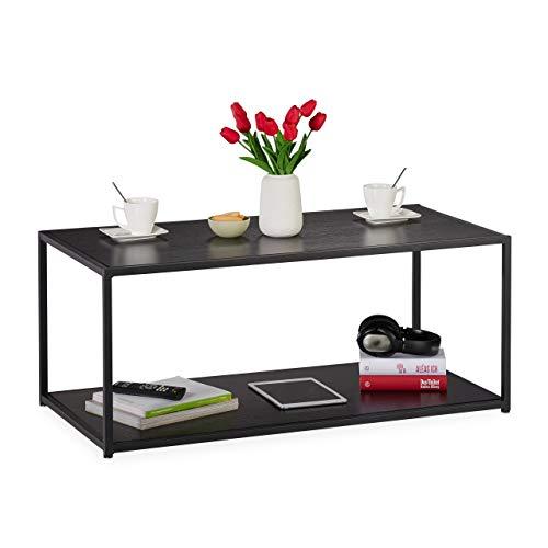 Relaxdays salontafel met legplank, rechthoekig, bijzettafel, metalen frame, woonkamertafel HBT 42 x 100 x 50 cm, zwart, metaal, 42 x 100 x 50 cm