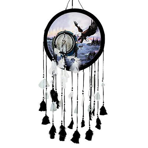 """BXS Gifts Eagle Wings Spread Landing Medicine Shield Dream Catcher – 14"""" x 24"""" Natural Wall Hanging with Feathers and Beads (KDS 111)"""