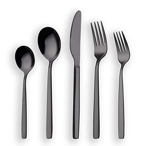 Berglander 20 Piece Titanium Black Plated Stainless Steel Flatware Set, 20 Pieces Black Silverware Set, Black Cutlery Set, Service for 4 (shiny Black)
