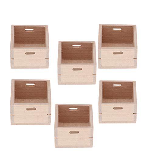 Harilla 6 Piezas de Casa de Muñecas en Miniatura Caja de Almacenamiento de Madera Cesta Contenedor Kits de Bricolaje