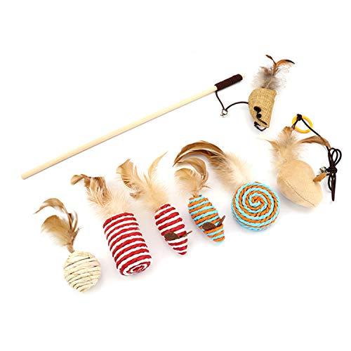 Yuning 7 Stück Katzenspielzeug, Interaktives Katzenspielzeug Set, Katzenspielzeug in Geschenkbox,Katzenspielzeug-Set zum Schleifen von Krallen, für Spaß, Auslastung und Abwechslung im Katzenalltag
