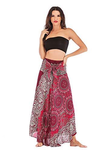 OMZIN Long Bohemian Style Gypsy Boho Hippie Skirt Ultra Soft Dress Red White