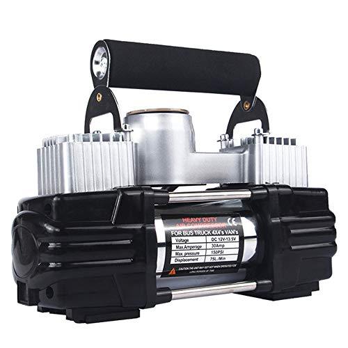 WYFDM Compresor de Aire Doble del Coche del Cilindro, inflador portátil de Alta presión del inflador de la Bomba de Aire del Coche 12v Sistema de neumático portátil del Poder más Elevado