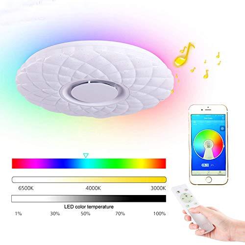 HOREVO 36W Ø50cm Lámpara Plafón de techo con mando a distancia con altavoz Bluetooth integrado RGB Cambio de color, APP Disponible, ideal Para Salón, Dormitorio Fiesta
