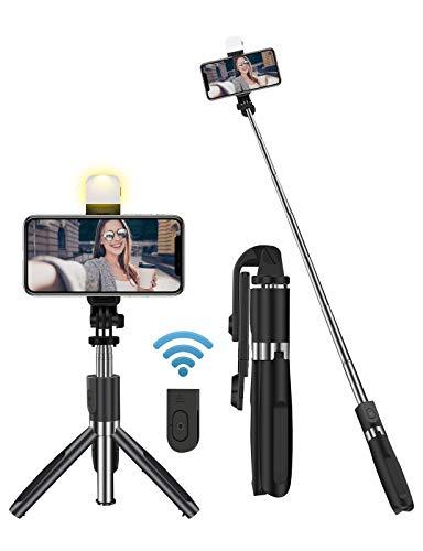Tensphy Selfie Stick Bluetooth Selfiestick Stativ 3 in 1 Selfie Stange Mit dimmbarem LED Fülllicht Erweiterbarer und Tragbar Tripod für Smartphone 4-6.7 Zoll