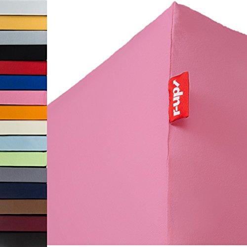 r-up Passt Spannbettlaken 180x200-200x220 bis 35cm Höhe viele Farben 100% Baumwolle 130g/m² Oeko-Tex stressfrei auch für Boxspringbetten (rosa)