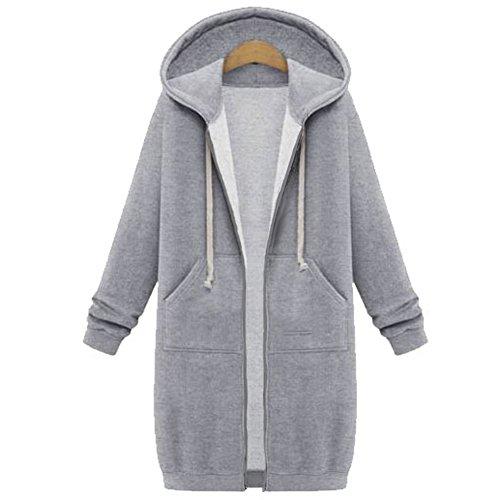 Your Gallery Women's Casual Long Hoodies Sweatshirt Coat Pockets Zip Up Outerwear Hooded Jacket Plus Size Tops,Light Grey,XX-Large