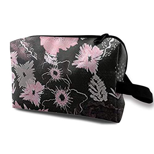 Organiseur de pinceaux de maquillage de grande capacité avec sac à main à fleurs noires et roses