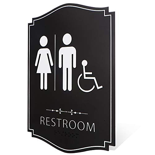 Kickfire Restroom Sign - Unisex Bathroom Signs- Male & Female Bathroom Sign - With 3M Double Sided Tape - Perfect for Office, Business, and Restaurant