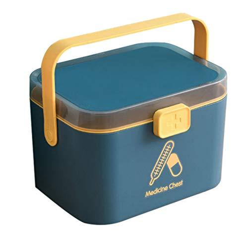 Cabilock Caja de Medicamentos de Plástico Mango del Hogar Oficina en Casa Coche Escuela Primeros Auxilios Caja Organizadora de Almacenamiento de Medicamentos 21 4 X 15 8 X 14 7 Cm