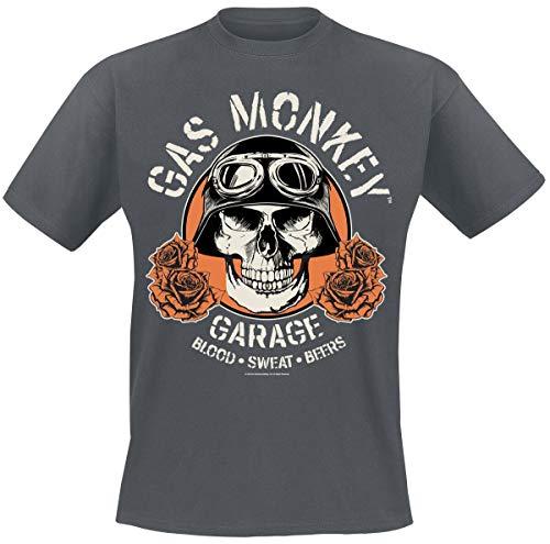Gas Monkey Garage Skull Homme T-Shirt Manches Courtes Gris Sombre chiné XL