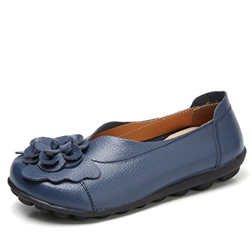 Socofy Slip On Leather Flat Shoes,Women's Outdoor Flower Decoration Handmade Casual Lazy Soft Loafers Dark Blue 13 B(M) US