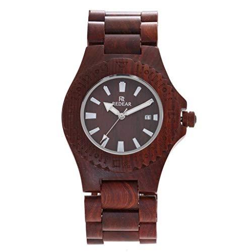 Orologio da uomo Zxy Reloj de Madera, explosión de sándalo Rojo Natural Puro Original, Cuarzo ecológico y Saludable, for Parejas DYF (Color : Red Sandalwood)