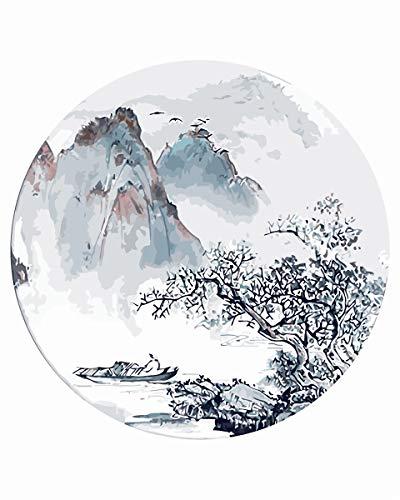 WZ in Chinese stijl landschap schilderen op cijfers voor volwassenen en kinderen DIY olieverfschilderij cadeauskits voorgedrukt canvas kunstuitgangdecoratie handgeschilderd decoratief schilderij 16 * 20 inch