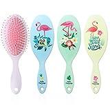 Entwirrungsbürsten, antistatisch, Massagekamm, oval, Luftpolster-Haarbürste für langes, dickes, dünnes, lockiges, natürliches Haar, Flamingo-Muster, 4 Stück