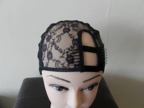 Large Black Left U Part wig cap. bonnet pour perruque. chapeau pour le tissage. filet pour tissage. avec peigne pour U-Part Weaving Cap. UPart wig making. [Misc.]