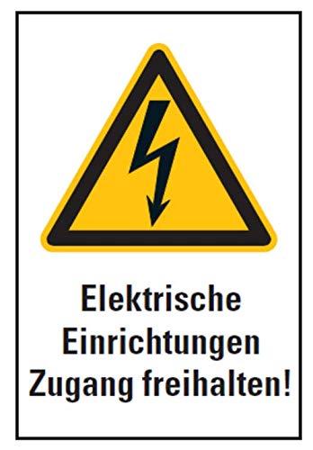Warnaufkleber Elektrische Einrichtungen Zugang freihalten! ISO 7010 Schild Folie 20x30cm, weiß/gelb Made in Germany by MBS-SIGNS