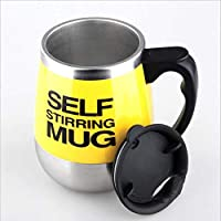 ARM Taza de café Auto removible, 4 Colores Creativo Uso múltiple y Multiuso Taza de Mezcla magnética de Acero Inoxidable eléctrico Adecuado para Oficina (Amarillo)