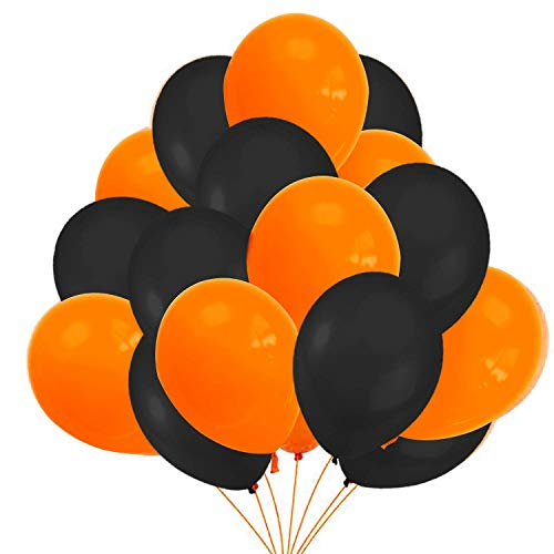 Decoracion Halloween Casa – 50 Globos Halloween, Globos Negros Y Naranjas