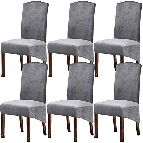 KELUINA XL Fundas para sillas de Terciopelo Felpa para sillas de Comedor, Fundas para sillas elásticas, tronas de Spandex, Fundas Protectoras con elástico para Comedor (Gris Plateado, 6 Piezas)