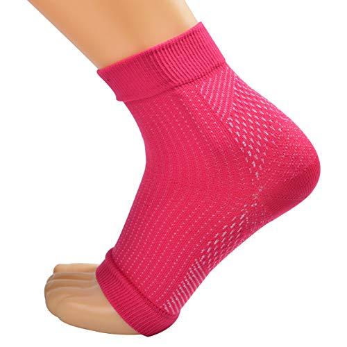 Kompressionssocken Fußbandage, Kompressionsstrümpfe/kompressionssocke für Männer & Frauen-Laufen & Sport oder Unterstützung Schmerzlinderung bei Plantarfasziitis, Knöchelschmerzen,Rose,XL