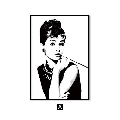 hulinhai Schwarz und weiß Audrey Hepburn wandkunst leinwand malerei Zitat minimalistischen Poster und Druck Wohnzimmer Bild wanddekoration rahmenlose malerei 50x70 cm