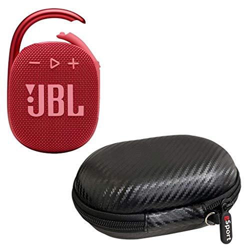 JBL Clip 4 Waterproof Portable Bluetooth Speaker Bundle with gSport Carbon Fiber Case (Red)
