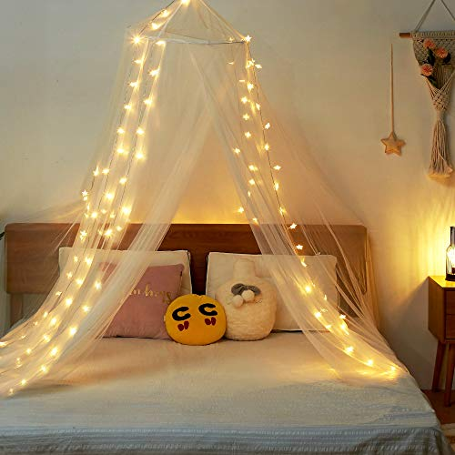 Twinkle Star Bed Canopy with 100 LED Star String Lights Battery Operated, Elegant Dome Bed Netting Canopy Curtains Canopy for Single to King Size Beds, Home &Travel Use, White