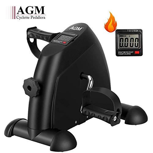AGM Mini Cyclette da Casa, Pedaliera Cyclette Fitness per Braccia e Gambe Pedaliera Regolabile Digitale Mani e Piedi Pedale con LCD Display (Nero)