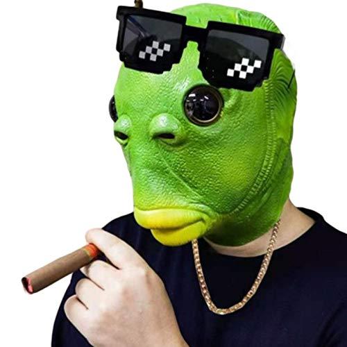 Accesorios para disfraz, mscara para el rostro, divertida, de pez verde, Halloween, cosplay, divertido, unisex, para adultos, para mujer, hombre, fiesta de carnaval, mscara para la cabeza de pez