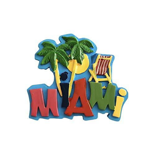 Miami USA 3D-Souvenir-Kühlschrankmagnet, Geschenk, handgefertigt, Heim- und Küchendekoration, Miami-Kühlschrank-Magnet-Kollektion