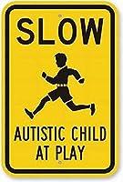 遊びの安全標識でゆっくり自閉症の子供ティンメタル標識道路道路標識屋外装飾注意標識