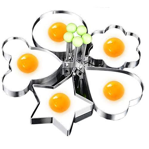 Antiadherente anillo redondo de huevo, Anillos de huevo acero inoxidable, herramienta de cocina para freír o modelar huevos, Borde engrosado, paquete de 5