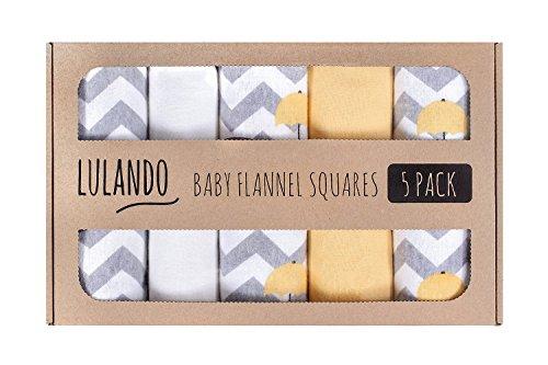 LULANDO Stoffwindeln und Moltontücher 70x80cm (5er Set). Waschbare Windeln und Spucktücher für Ihr Baby. Farbe: Elefanten Gelb-Weiß
