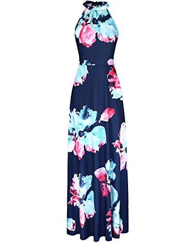 STYLEWORD Women's Off Shoulder Elegant Maxi Long Dress(Floral05,M)