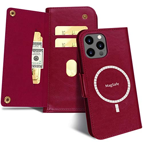 """FYY Case Compatible with iPhone 12 Pro Max 5G 6.7"""", [Support Magsafe Charger] Luxury Leather Wallet Case Flip Folio Cover with [Card Slots] for iPhone 12 Pro Max 5G 6.7"""" Wine Red"""