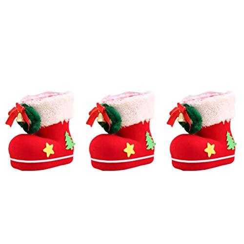 BESTOYARD Weihnachten Stiefel Süßigkeiten Geschenk Taschen Goodies Gefälligkeiten Strümpfe Santa Kordel Tasche Halter Tischdekoration Partei Dekorationen 3 STÜCKE (Groß)