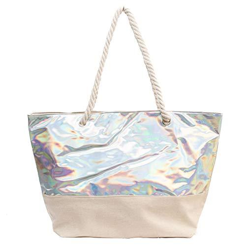 Kandharis Strandtasche Badetasche große Sommertasche Schultertasche Shopper mit Reissverschluss Metallic-Look Muster XL Damen ST-23 Silber