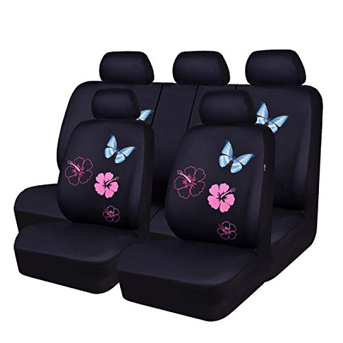 CAR PASS Flower and Butterfly Universal Car Seat Covers, Suvs,sedans,Vehicles,Airbag Compatible (11PCS, Black and Pink)