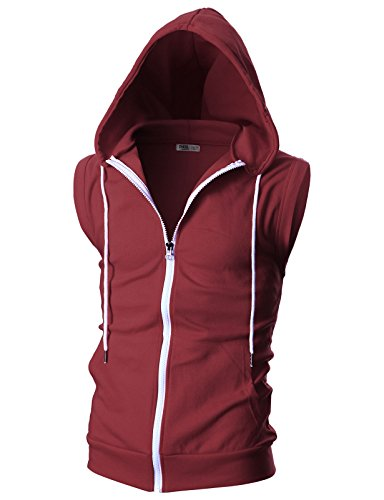 OHOO Mens Slim Fit Sleeveless Lightweight Zip-up Hooded Vest with Single Slide Zipper/DCF012-BURGUNDY-XL