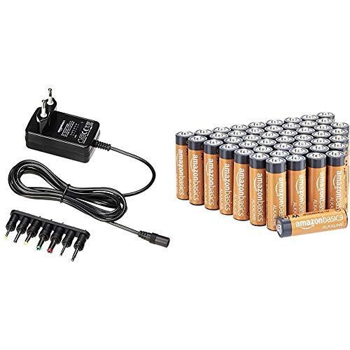 Amazon Basics Performance Batterien Alkali, AA, 48 Stück (Design kann von Darstellung abweichen) & Universal-Steckernetzteil mit 7 abnehmbaren Steckern, 3-12V (Gleichspannung), umkehrbare Polarität