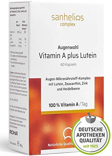 Sanhelios® AUGENWOHL Vitamin A + Lutein + Zink + Zeaxanthin + Heildelbeere in Premium Apothekenqualität | 60 vegane Kapseln = 2 Monate - Hergestellt & geprüft in Deutschland