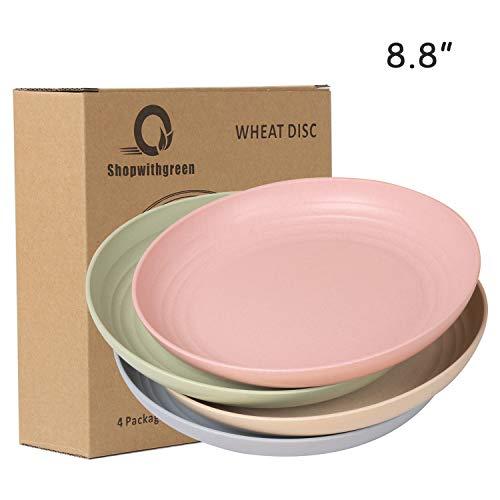 shopwithgreen Teller/4er 8.8 Inch Plate/Weizenstroh Abbaubar Gesunde Teller/Mikrowellen & Spülmaschinenfest Dinner Geschirr-Ohne BPA & Umweltfreundlich(22.35cm )