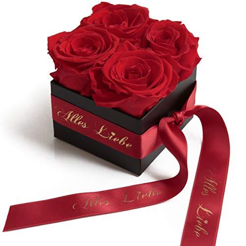 Alles Liebe Blumengeschenk für Mama - Rosenbox mit konservierten Rosen haltbar 3 Jahre - Geschenk zum Muttertag (Alles Liebe, Rot)