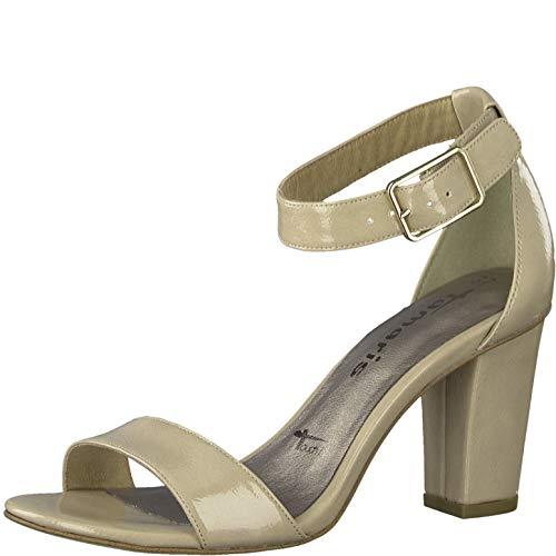 Tamaris Damen Sandalen 28018-24, Frauen Sandaletten, leger Sandaletten Sommerschuhe offene Absatzschuhe hoher Absatz,Nude PATENT,38 EU / 5 UK