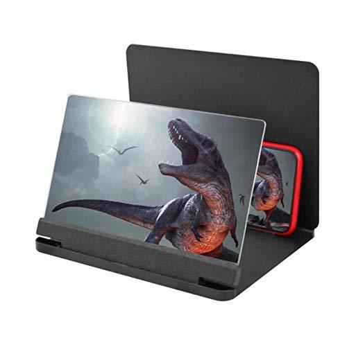 DishyKooker 10 - Teléfono móvil de 12 Pulgadas con Pantalla 3D y Lupa de vídeo, Soporte Plegable, para Escritorio, Smartphone, película HD, Amplificador, proyector de pie, Color Negro