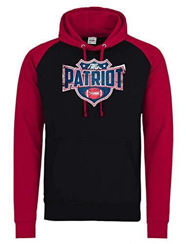 Shirt Happenz True Patriots Any Given Sunday Pats Football Premium Baseball Hoodie Kinder Unisex Pulli Kapuzenpullover, Farbe:Schwarz Rot JH009J, Größe:7-8 Jahre (128)