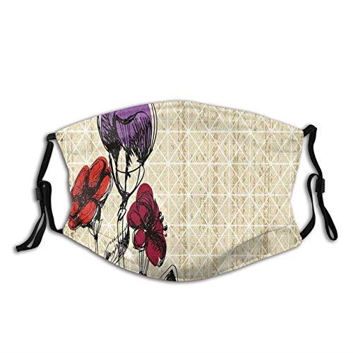 2021 - Masque coupe-vent confortable - Pétales de fleurs avec effet grunge - Illustration de fleurs - Décorations pour le visage - Unisexe